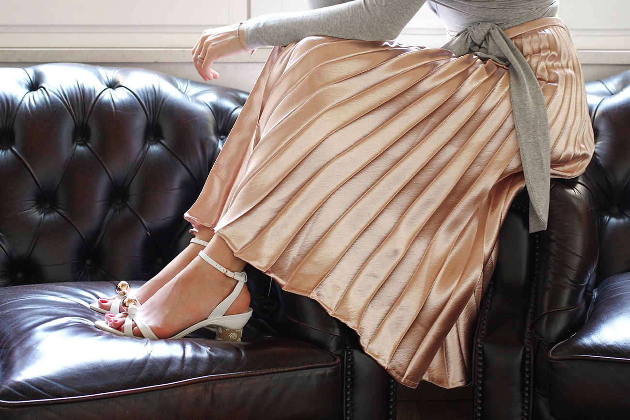 ruby sonnet wrap top cecelia metallic pleated skirt sophia webster loren sandals