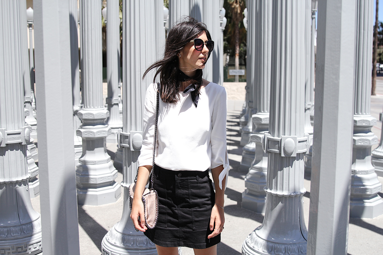 monochrome outfit wearing ruby harmony bow blouse sophia webster loren sandals