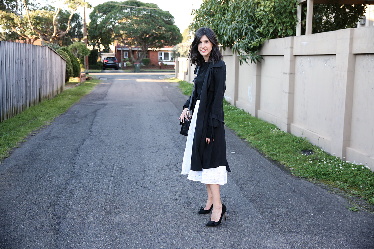 minimal black and white outfit
