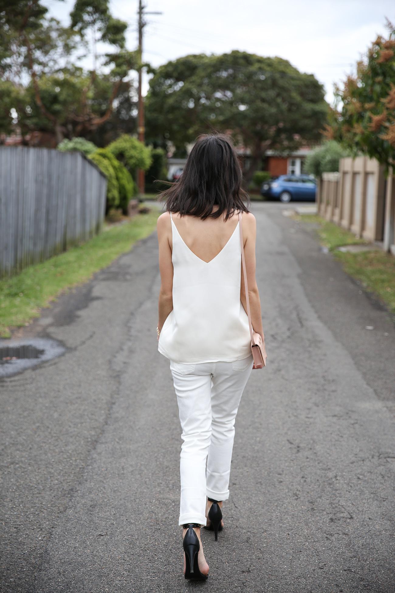 grana silk camisole white boyfriend jeans