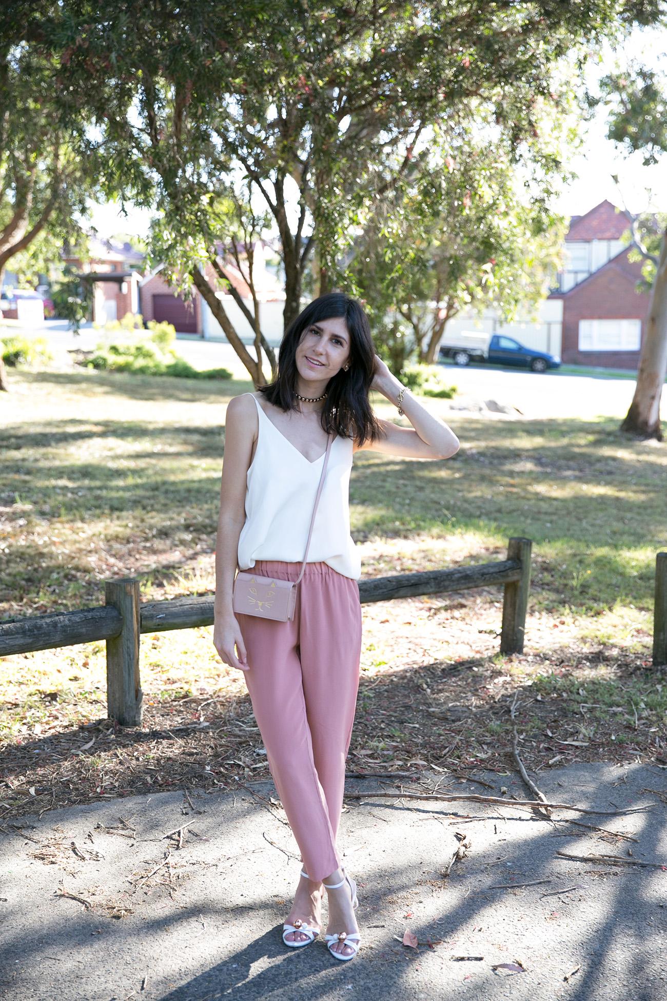 grana silk trousers silk cami outfit