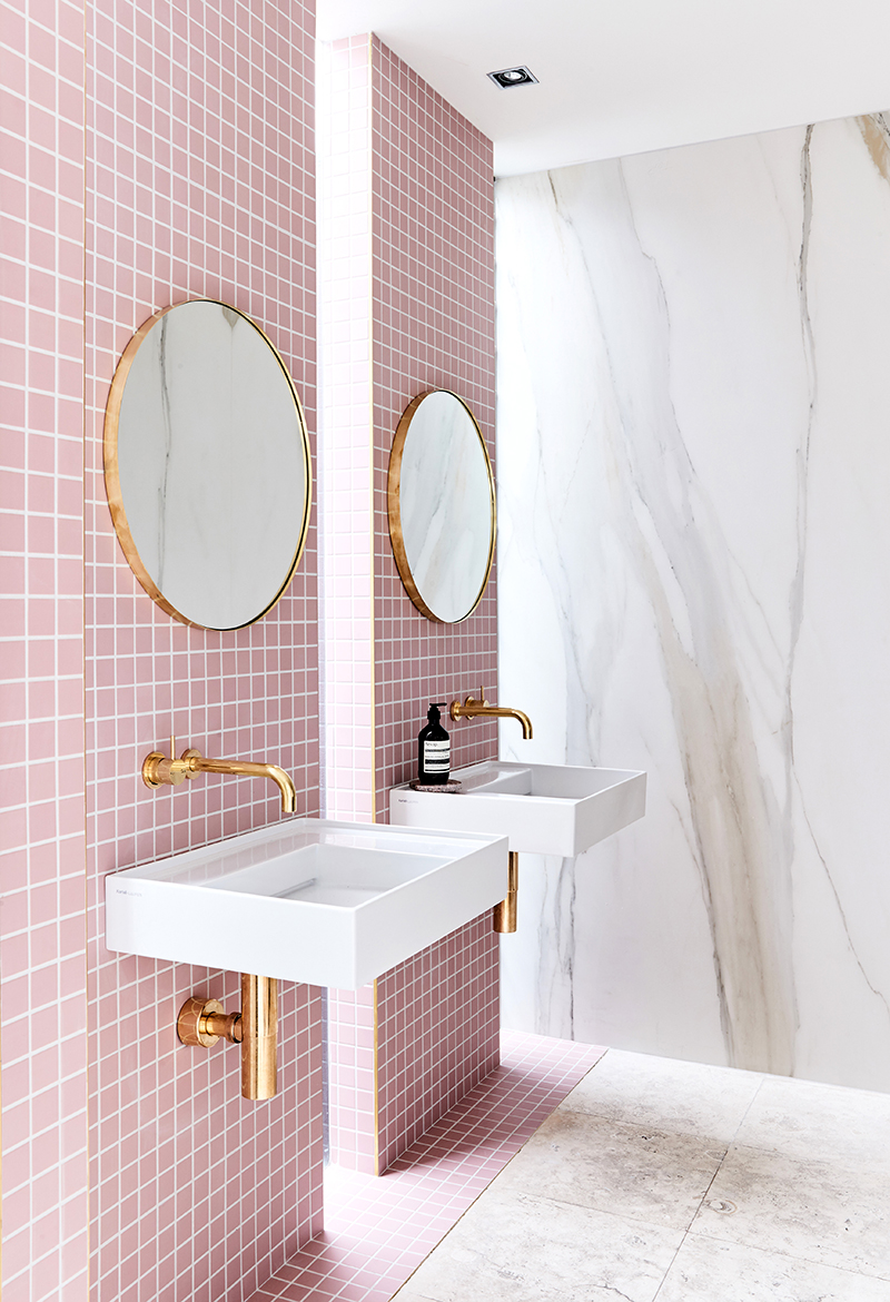 rose quartz pink bathroom ensuite home decor