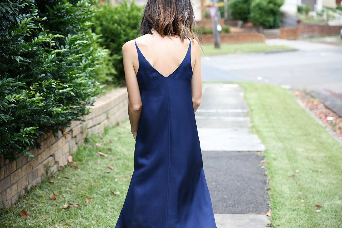 grana navy silk slip dress