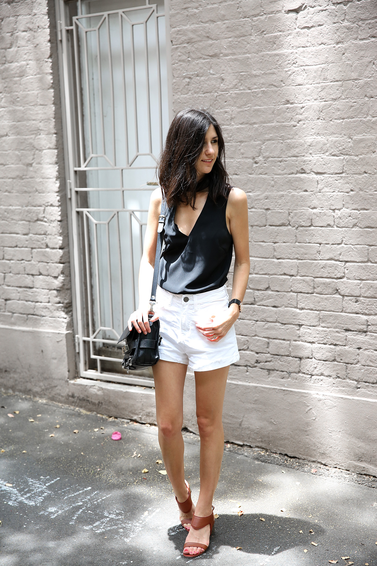 minimal outfit monochrome collar top denim shorts australia