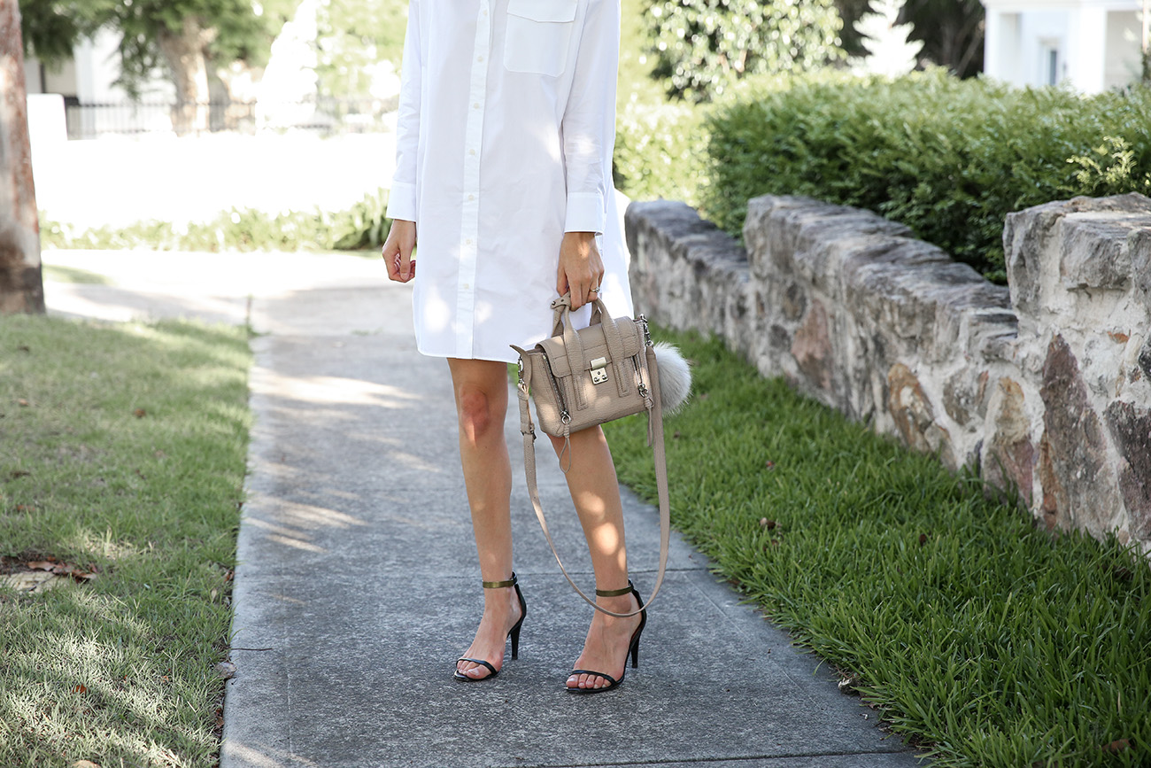 everlane poplin shirt dress minimal outfit
