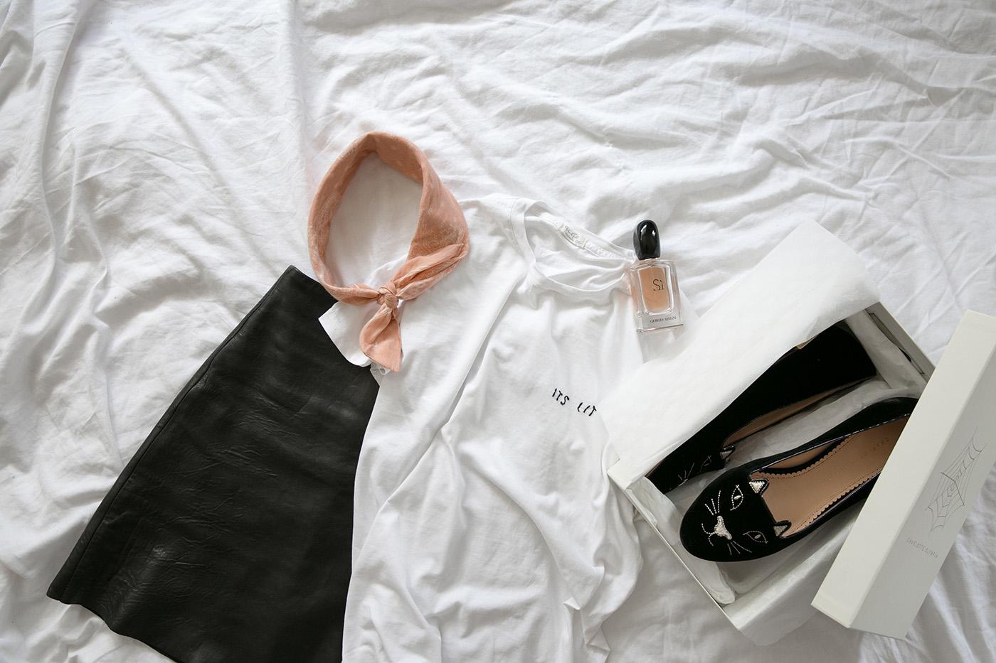 minimal flatly leather skirt white tee