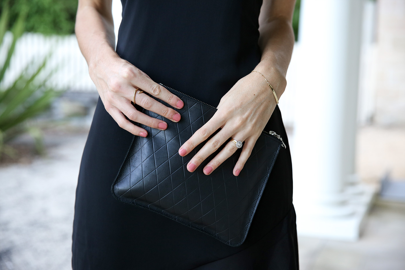 black maxi dress minimal style