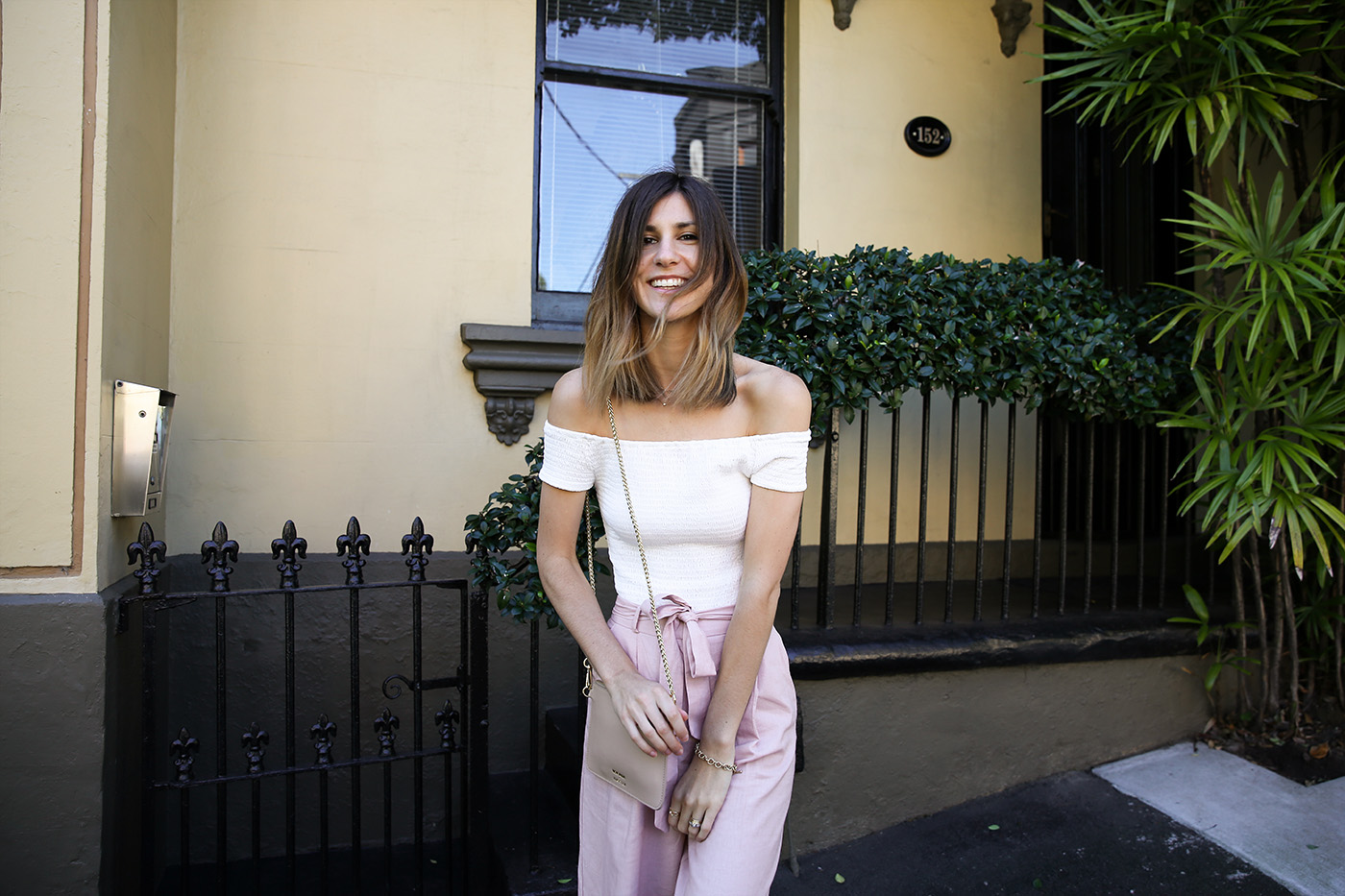 off the shoulder pink culottes outfit minimal