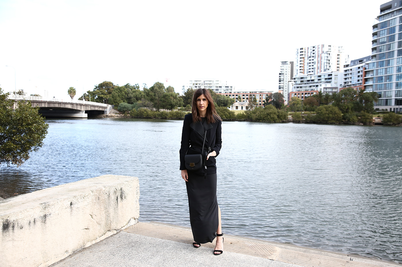 outfit wearing grana pima maxi dress isabel marant blazer