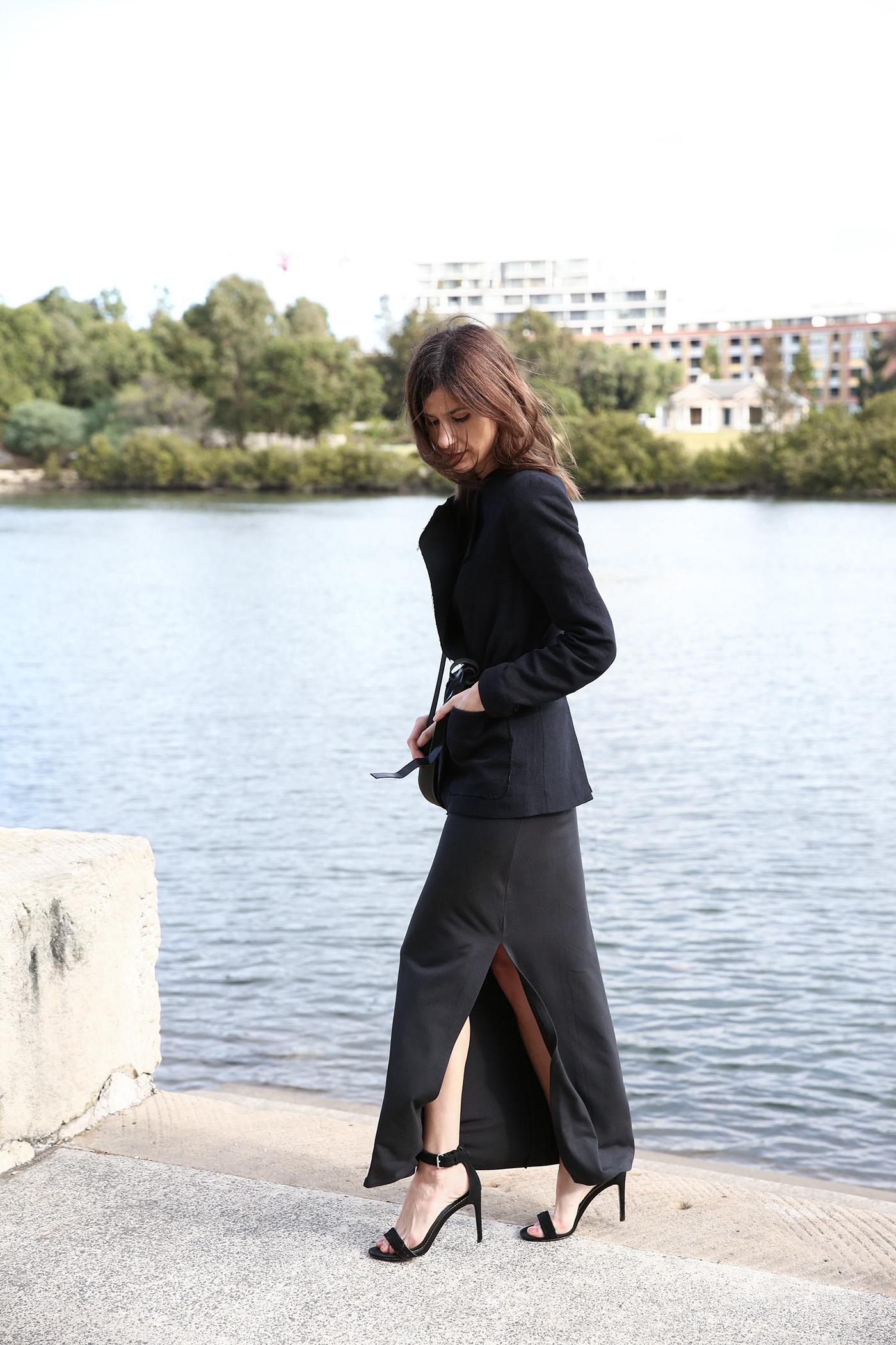outfit wearing grana pima maxi dress isabel marant blazer