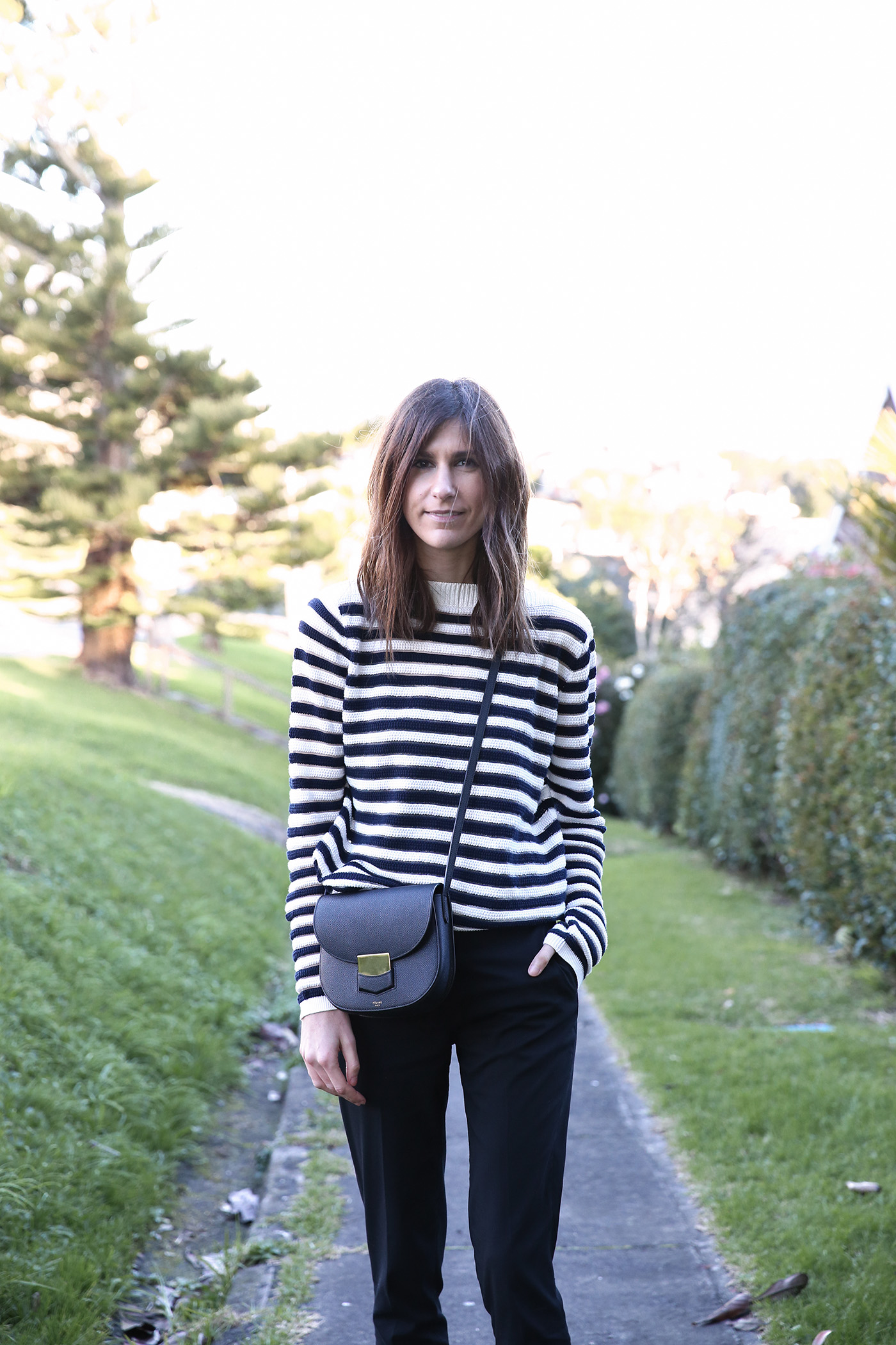 gamine parisian style outfit with stripes