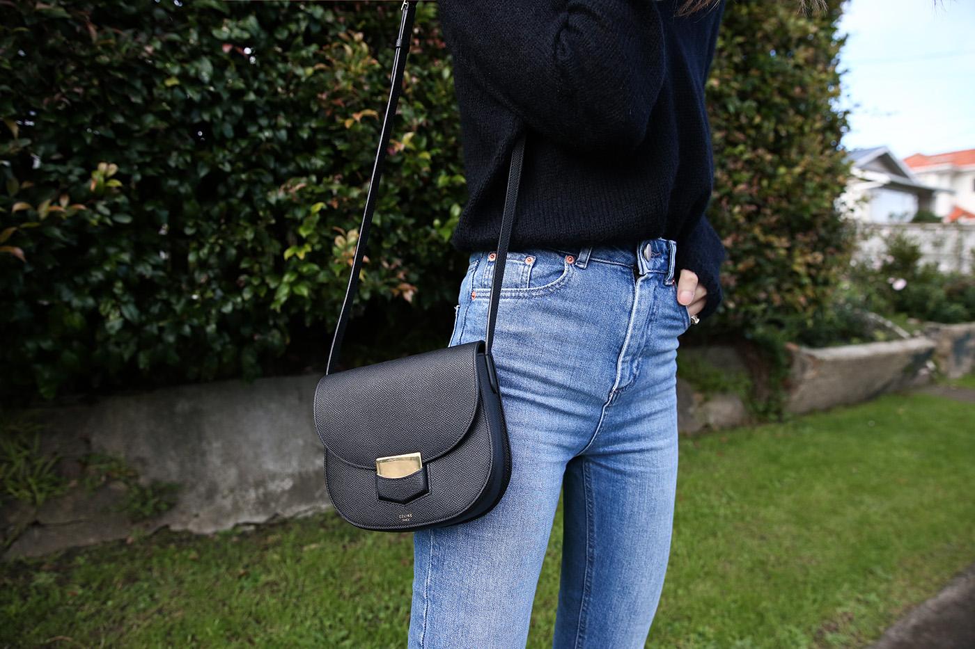 minimal outfit wearing celine trotteur bag