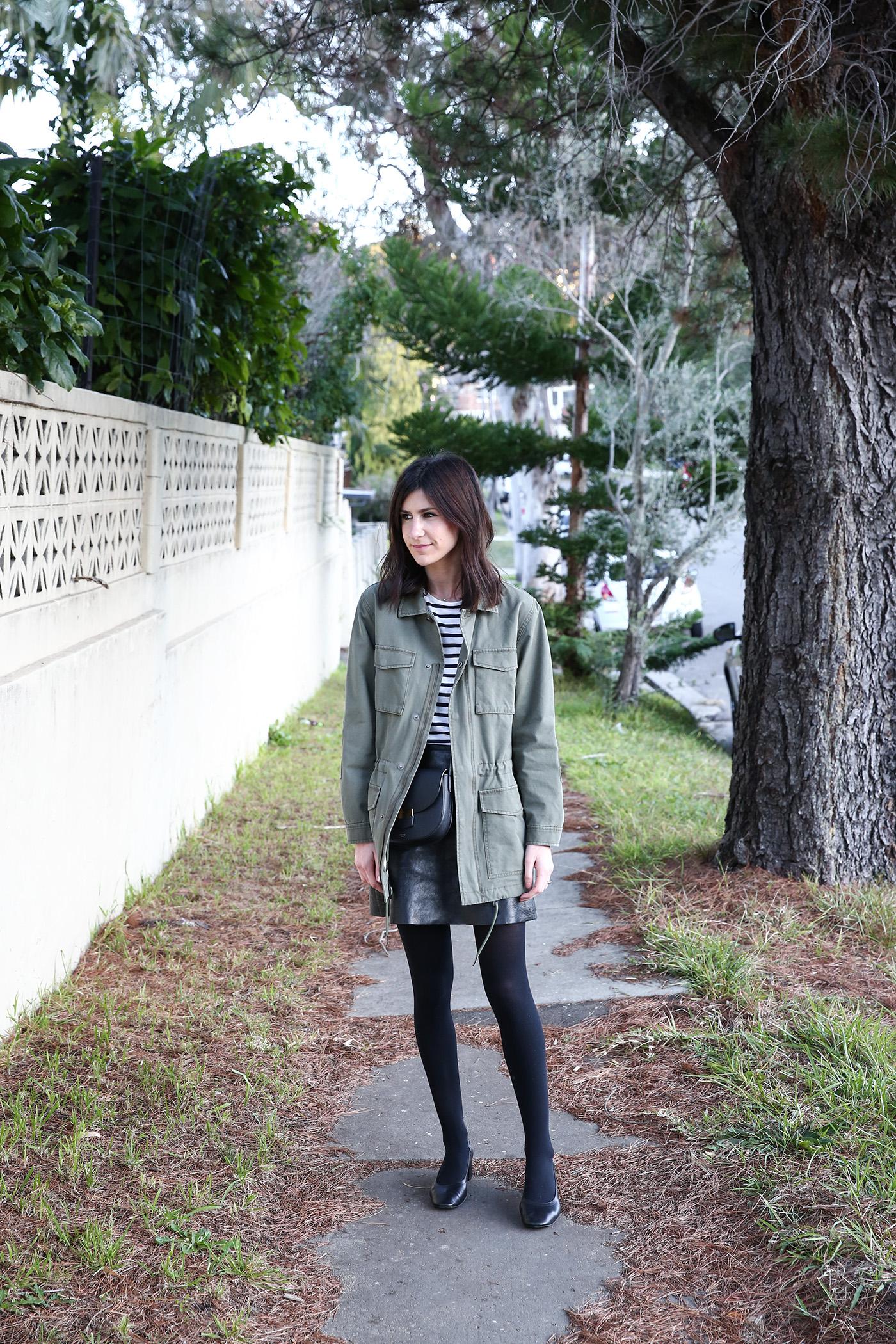 mademoiselle outfit wearing breton stripe top army jacket