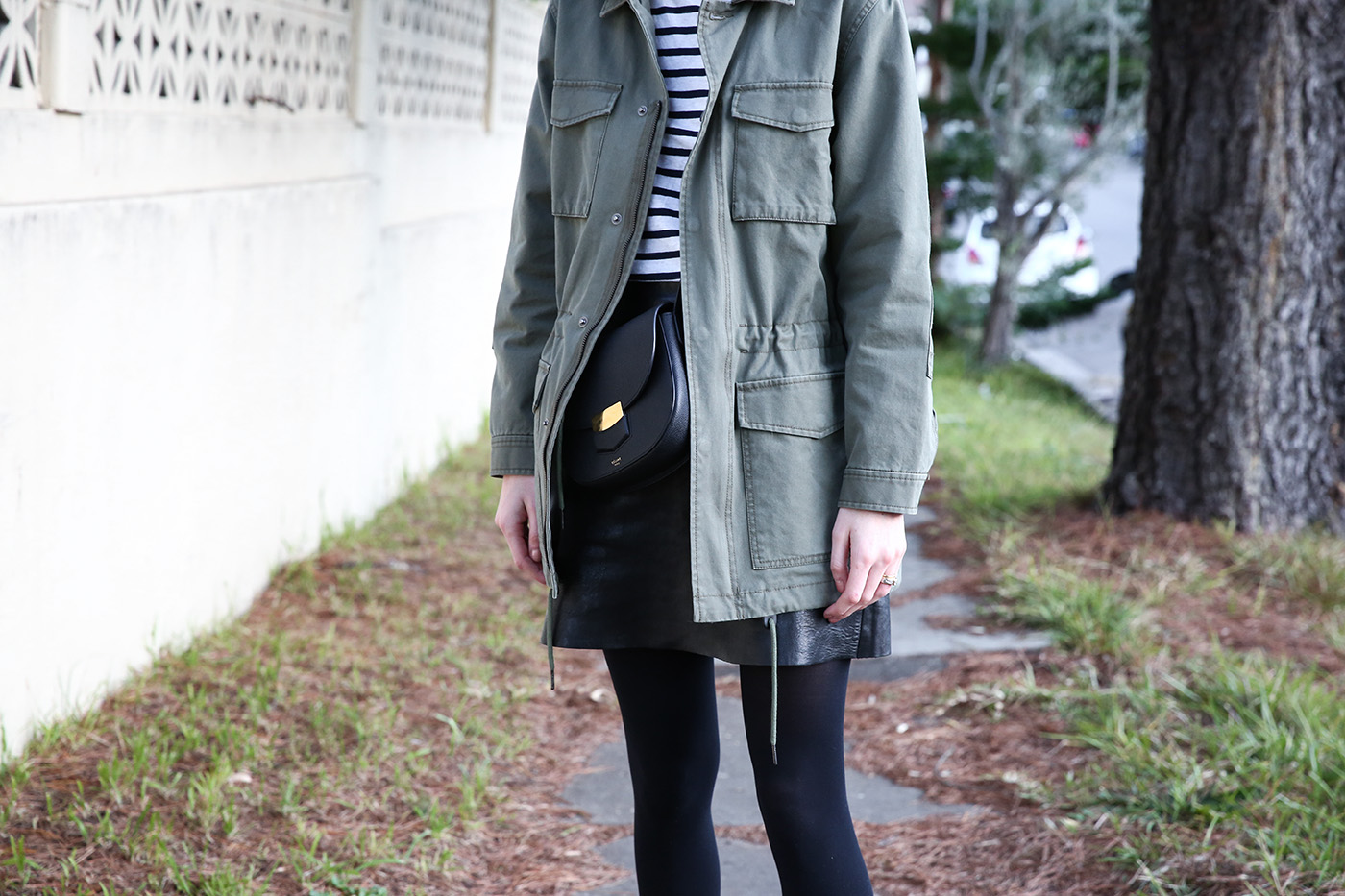 mademoiselle outfit wearing breton stripe top army jacket
