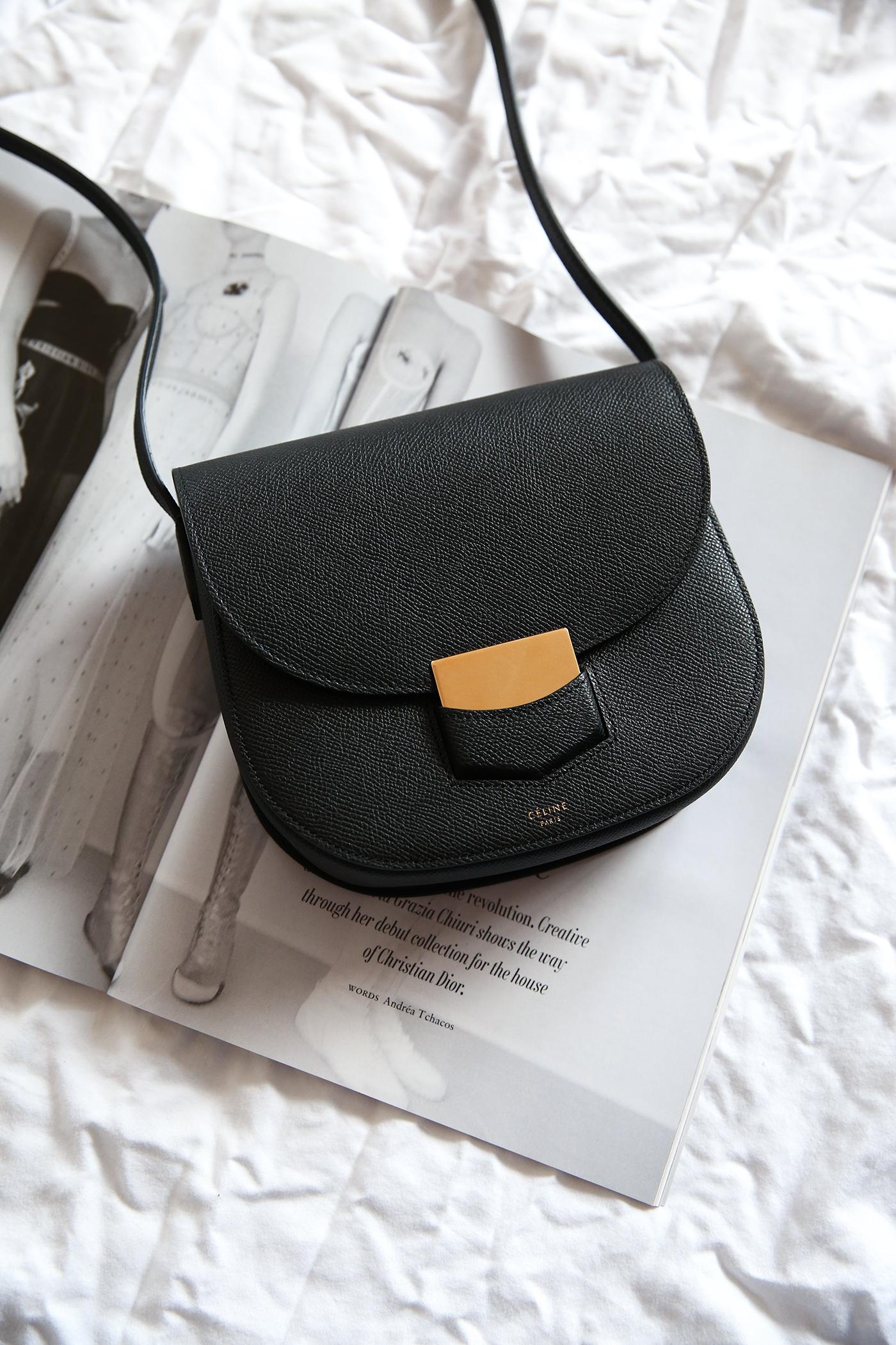 celine trotteur bag black leather minimal