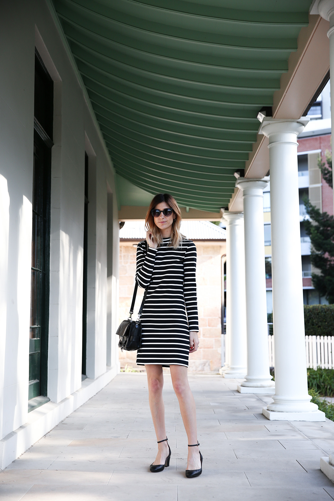 black and white breton striped dress